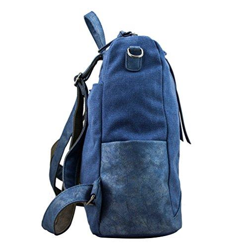 Vbiger Frauen Rucksack Segeltuch Umhängetasche Modische Tagesrucksack Große Kapazität Handtasche Schicke Umhängetasche Blau