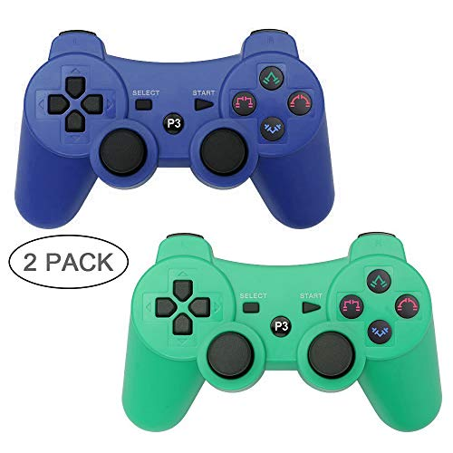 Autker PS3 Controller Wireless 2 Pack Playstation 3 Controller Double Vibration Bluetooth Dualshock 3 für PS3 mit 2 Ladekabeln