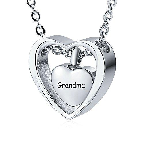 Daesar Edelstahl Herz Anhänger Kette Silber mit Gravur Grandma Asche Halskette für Gedenk Memorial Halskette (Baguette-kreuz-anhänger)