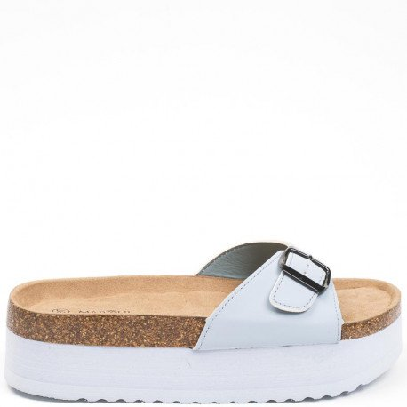 Ideal Shoes - Nu-pieds à plateforme Tiliane Bleu