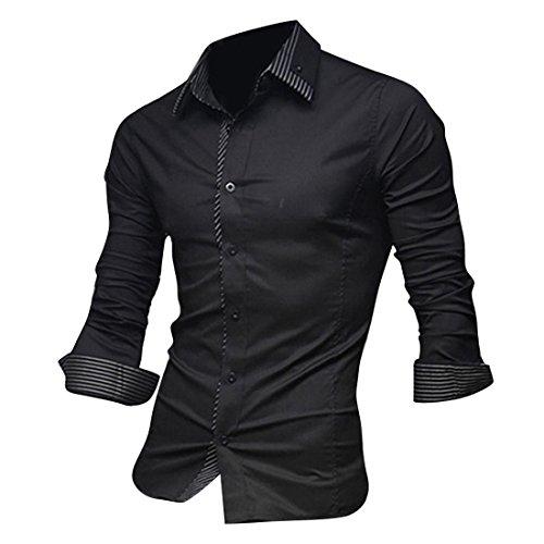 jeansian Hommes Chemise Casual Slim Fit Trend Fashion Mens Shirt 8698 Black