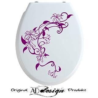 TREND DESIGN - Aufkleber für WC Toiletten Deckel ***Lilien Ranke*** freie Farbauswahl!
