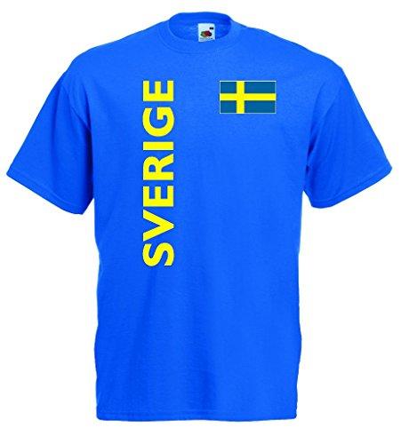 world-of-shirt Herren T-Shirt Sverige Trikot Fan Shirt royal von S-XXXL|rb-xxxl (Schweden-fußball-t-shirt)