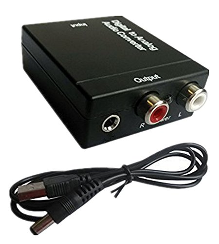 Digital to Analog Audio Converter - Optical SPDIF Toslink Coaxial to RCA L/R Adapter with 3.5mm Jack, 24-bit 192kHz DAC Supports Simultaneous Headphone and Speaker Outputs