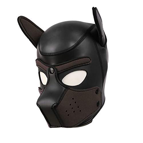 Womens Gummi Hündchen Haube Maske wilde Tierkopf Masken Spielzeug für Kostüm Cosplay,F (Hündchen Kostüm Kit)