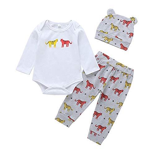 White Kostüm Tiger Strampler - Babykleidung Jungen Mädchen Strampler Hose Hut Tiger 3 Stück Outfit Cartoon Bedruckte Babykleidung White,92/2-3years