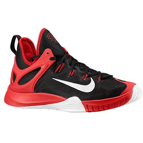 Nike Herren Zoom Hyperrev 2015 Basketballschuhe Schwarz/Silber/Rot (Blk/Pr Pltnm-Unvrsty Rd-weiß), 44,5 EU