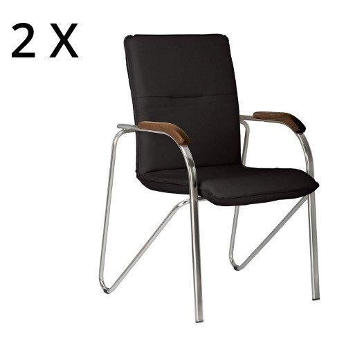 Samba Sessel abgerundeten Armlehnen mit Manschetten aus Holz. Konferenzstuhl/Wartezimmer. Lieferung montiert. 2 Jahre Garantie. schwarz