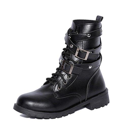 Stiefel Damen, DoraMe Frauen Flat Boden Schnalle Spitze Stiefel Kurz Martin Stiefel Motorrad Stiefel Einzigen Schuhe (38, Schwarz)
