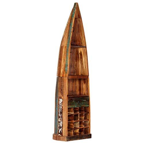 FESTNIGHT Weinregal 50 x 40 x 180 cm (B x T x H) Recyceltes Massivholz mit 16 Flaschenfächern, 1 Schublade und 3 Ablageflächen