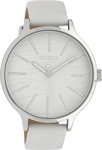 Oozoo Damenuhr mit Design Zifferblatt und Lederband 45 MM Silberfarben/Weiss C10120