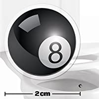 10 x Pool Ball Toilet Target Stickers - 2cm Wide - Cleaner Bathroom/Restroom Floor In A Flash With No Cleaning Products - Helps Improve Aim And Hit The Target - Toilet/Potty/Urinal Training Aid Aiming Reward - Suitable For Children, Toddlers, Boys And Adults