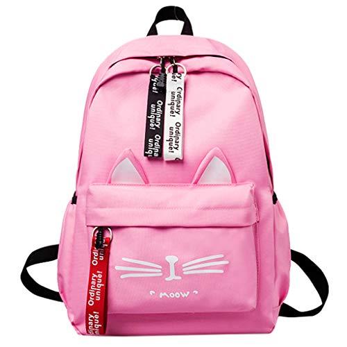 hängetaschen groß Tasche Canvas Damen katze muster umhängetasche rucksack schüler Studententasche ()