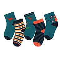 Kids Cotton Socks 3-5 Years Boys Girls Daily Basic Crew Socks 5 Pack Casual School Breathable Comfortable Dinosaur - M