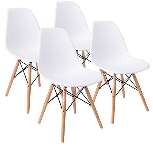 KunstDesign Eames Style Chairs Set de 4, diseño ergonómico, patas de madera de haya natural, aspecto moderno de mediados de siglo, perfecto para: restaurante, salón de té, comedor, dormitorio, sala de estar, cafetería, sala de recepción, cocina, patio, bar, etc.(Eames-Blanco)