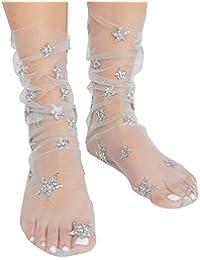 6e22393b368aaa Oyedens Calzini, Donne Regalo di Moda Glitter Star Soft Maglie Sock  Trasparente Elastica Una Caviglia