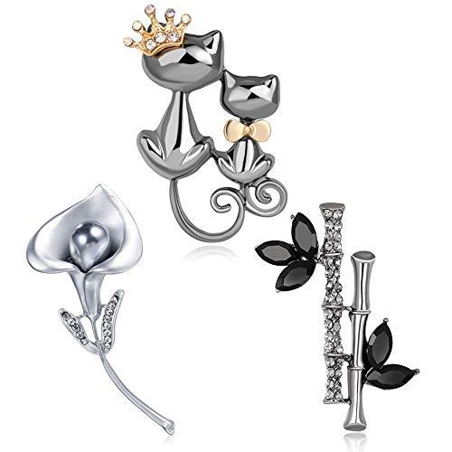 Crazy-M 3 STK Damen Brosche Tierform modern Vintage elegant Katze, Bambus, Morgenruhm Kristall Brosche Geschenke des Geburtstags Schmuck