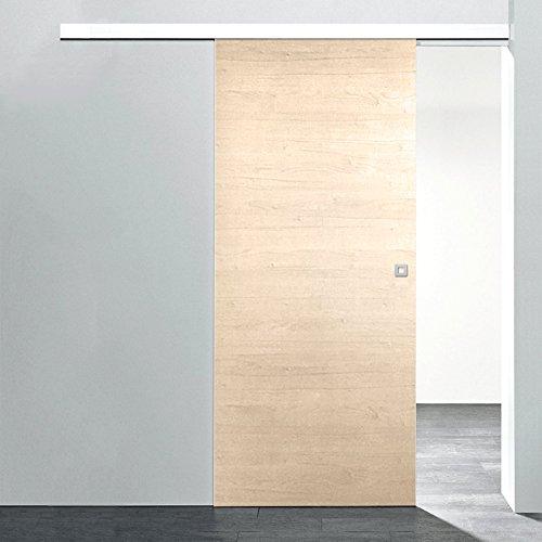 Holz-Schiebetür Ahorn Komplettset mit Schiebetür-Beschlag 880 x 2035 mm Holztür & Schiene Schiebetürsystem (Holz-innentüren)