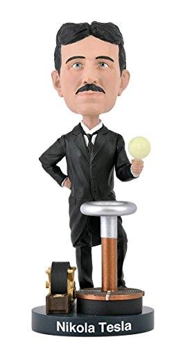 Bobblehead of Nikola Tesla with a Glow-in-The-Dark Light Bulb, Collectible Bobblehead