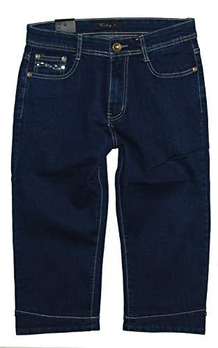 Vidy'l Damen 3/4 Stretch Capri Jeans Hose,Dunkelblau CH-628, Gr.44 W34