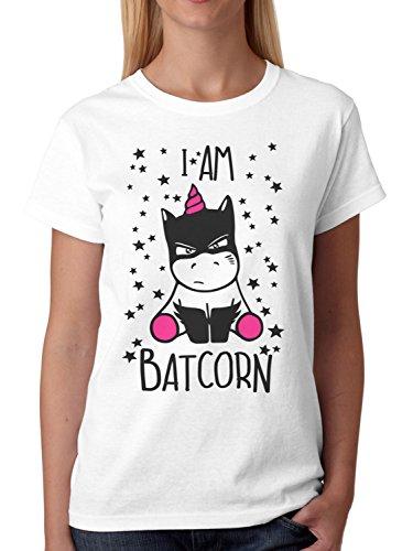 ex Fun T-Shirt I Am Batcorn Batman Unicorn Einhorn Plus Geschenkkarte, Größe:L, Farbe:Weiß/Pink (Lustige Kostüme Für Weihnachten)