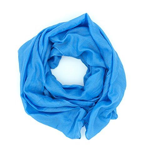 WILD CAT Damen Schal Halstuch Tuch aus Chiffon für Frühling Sommer Ganzjährig (Himmelblau)
