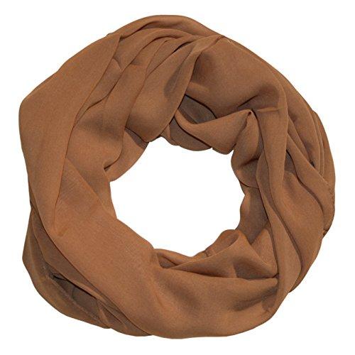 ManuMar Loop-Schal für Damen   feines Hals-Tuch mit Unifarben   Schlauch-Schal in Braun - Das ideale Geschenk für Frauen