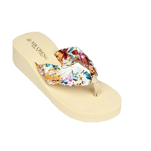 Familizo scarpe donne elegante la moda Boemia floreale Beach sandali con zeppa delle cinghie della piattaforma Pantofole Infradito (size:37, Beige)