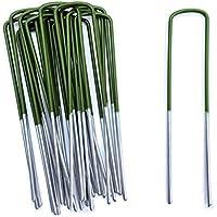 Lawn World - 50 la mitad verde césped artificial anclajes pinzas de metal galvanizado grapas 150mm x 30mm x 3mm