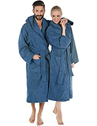 CelinaTex Montana Bademantel mit Kapuze XL blau Baumwolle Morgenmantel Frottee Damen Herren Saunamantel
