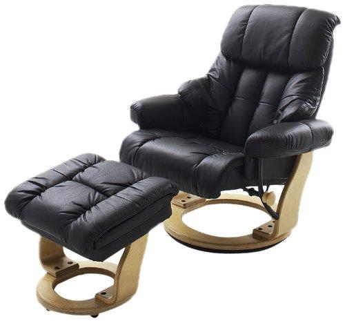 Robas Lund Relaxsessel Calgary mit Hocker Leder schwarz 90 x 91-122 x 89-104 cm 64023SN5