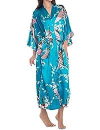feoya bata Kimono con cinturón de la mujer pavo real y flores impresión seda larga ropa de dormir azul