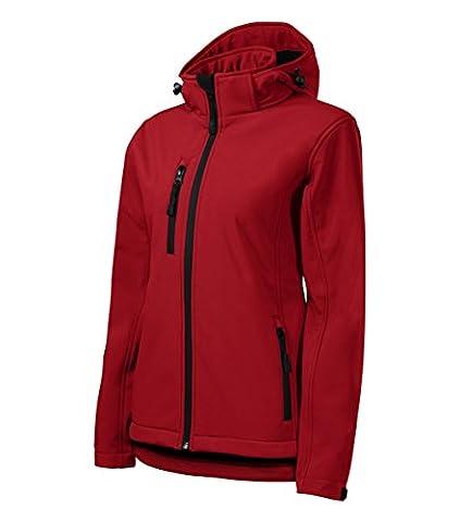 Damen Outdoor Softshelljacke mit Kapuze - Winddicht Funktions Regen Wasserabweisend Atmungsaktiv Tailliert Jacke (Rot, M)