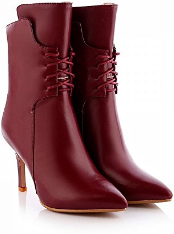 CXY Botas de Mujer de Tacón Alto en Fino de Gama Alta con Zapatos de Mujer Puntiagudos de Alta Gama,Vino Rojo,34