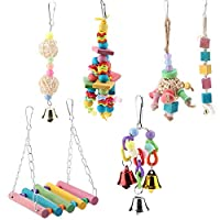 Smandy 6 Pcs Pet Bird Parrot Cage Toy, Parakeet Bird Toys Perches Swing Hanging Toys with Colorful Wood Beads Bells Sepak Takraw for Parrots Cockatiels Macaws Finches