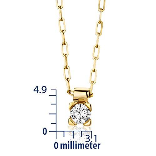 Miore Diamond Necklace, 18ct Yellow Gold, Diamond Solitaire Pendant, M0600Y 41.5cm + 4cm Extender