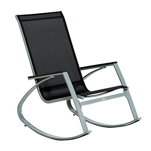 Outsunny Rocker Garden Metal Rocking Chair Outdoor Relaxing Patio Textilene Sun Lounger