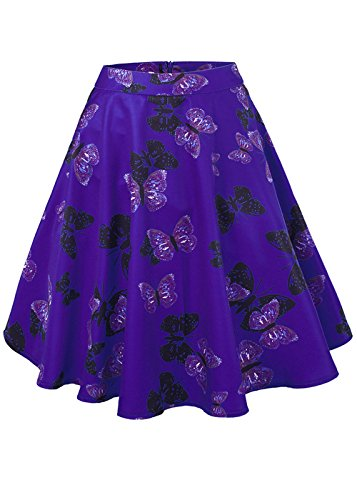 femminile a vita alta floreali / Polka Dots Stampa gonna a pieghe Midi Skater Skirt Butterfly-blu