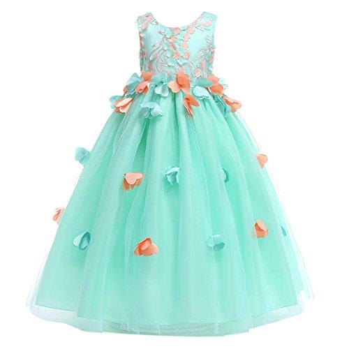 FYMNSI Blumenmädchen Kleid Kinder Prinzessin Lang Abendkleid Mädchen Ärmellos Hochzeitskleid...