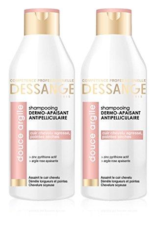Dessange-Shampoo antiforfora con argilla rosa, emolliente per cuoio capelluto stressato o punte secche,250ml,set di 2