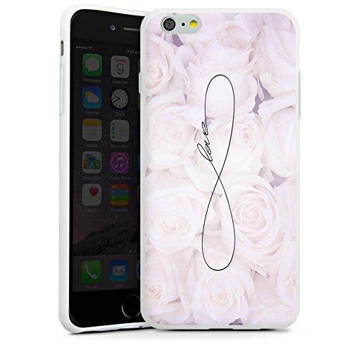 Apple iPhone 6 Tasche Hülle Flip Case Eternal Love Spruch Rosen Liebe Silikon Case weiß