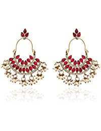 Zaveri Pearls Pearl Ruby Dangle & Drop Earrings For Women - ZPFK1194