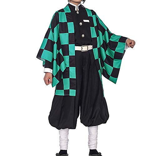 Synona Anime Demon Slayer: Kimetsu No Yaiba Kamado Tanjirou Cosplay Costume Conjunto de Kimono Japonés Traje De Fiesta De Disfraces De Halloween Hombre Mujer