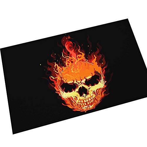 YTTY Printed Teppich Festival Tür Matte Saugfähige Anti-Rutsch-Matte Horror Halloween Matte, Flamme, 40 * 60 cm