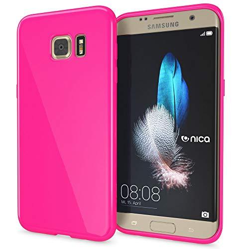 NALIA Handyhülle kompatibel mit Samsung Galaxy S7 Edge, Ultra-Slim TPU Silikon Hülle Jelly Case, Dünne Gummi Schutzhülle Skin, Etui Handy-Tasche Schale Thin-Fit Back-Cover Smart-Phone Bumper - Pink Pink Gummi Case