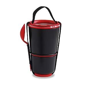 Black Blum - Bento Box - Boîte déjeuner - Boite repas, lunch box - Lunch pot noir/rouge
