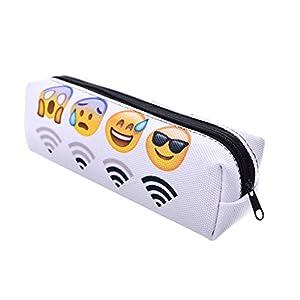 hugestore Emoji estuche de lona bolsa lápiz caso bolsa bolsa de palos de cosméticos soporte contenedor para las niñas