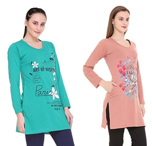 IN Love Women's Full Sleeves Long Line Side Pocket Side Slits Cotton T Shirts Combo Pack of 2