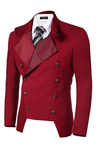 Coofandy Men's Casual Double-breasted Jacket Slim Fit Blazer (Medium, Red)