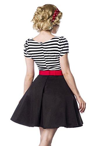 Retro Jersey Kleid mit Tellerrock Schwarz/Weiß